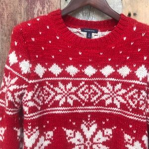 Lands' End Snowflake Sweater Small